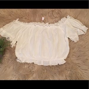 NWT White Off the Shoulder Rayon Crop